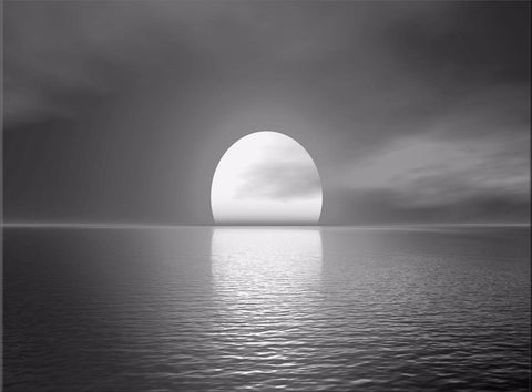 SUNSET SEA BLACK WHITE SEASSCAPE CANVAS WALL HANGING PICTURE IMAGE PHOTO