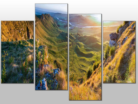 HILLS GREEN LANDSCAPE VIEW LARGE SPLIT PANEL CANVAS WALL ART IMAGE PICTURE