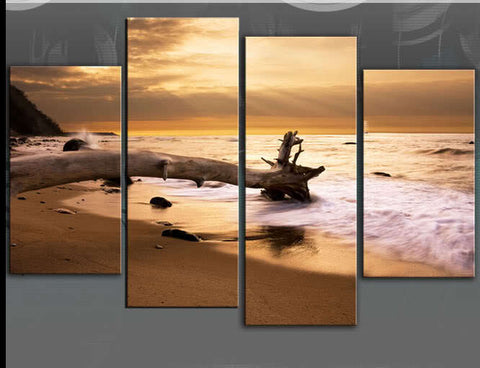 SUNSET BEACH TRANQUILITY PEACE LARGE SPLIT PANEL 4 PANEL CANVAS WALL ART IMAGE