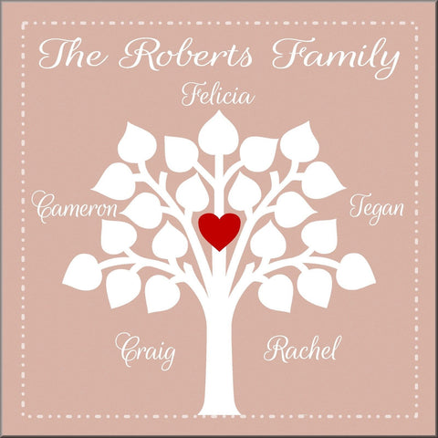 FAMILY TREE PERSONALISED NAMES AND COLOURS CANVAS WALL ART HANGING IMAGE