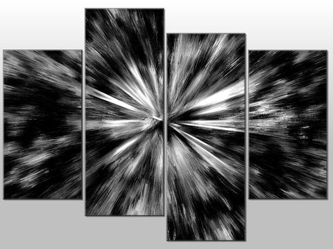 BLACK WHITE ABSTRACT FLASHES LARGE SPLIT PANEL 4 PANEL CANVAS WALL ART IMAGE