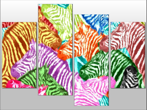 ZEBRA MULTI COLOUR PAINTING LARGE SPLIT PANEL 4 PANEL CANVAS WALL ART IMAGE