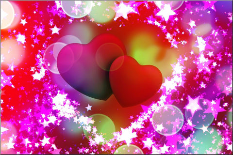 PINK RED HEARTS ABSTRACT STARS CANVAS WALL ART IMAGE PICTURE PHOTO IMAGE CANVAS