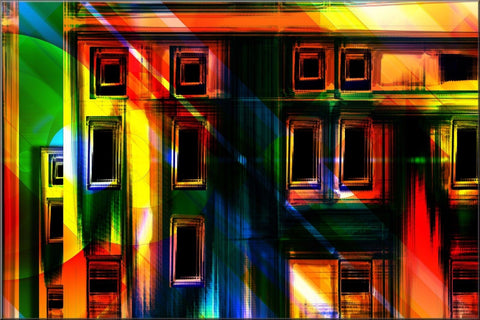 MULTI COLOURED ABSTRACT ART BLOCKS LINES CANVAS WALL ART IMAGE PICTURE PHOTO