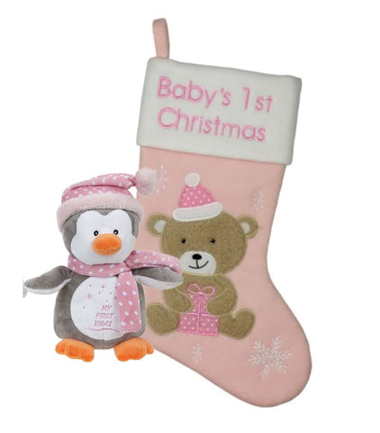 BABYS 1ST CHRISTMAS SET STOCKING CUDDLY TOY PENGUIN PINK MERRY CHRISTMAS BABY