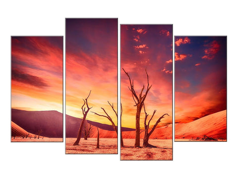 PINK ORANGE PURPLE DESERT LARGE SPLIT PANEL 4 PANEL CANVAS WALL ART IMAGE