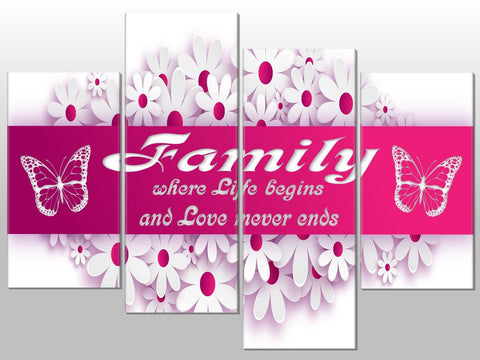 PINK FAMILY QUOTE FLOWER LARGE SPLIT PANEL 4 PANEL CANVAS WALL ART IMAGE