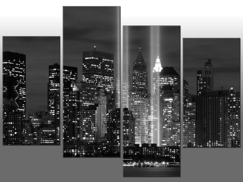 NEW YORK BLACK & WHITE CITYSCAPE LARGE SPLIT PANEL 4 PANEL CANVAS WALL ART IMAGE
