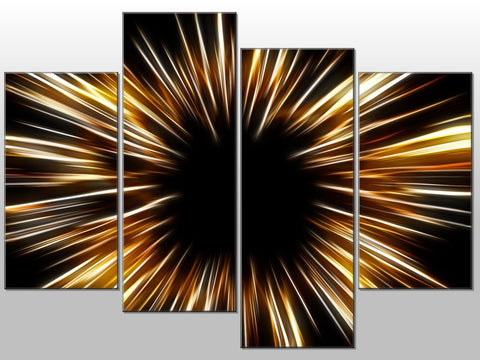 BLACK WHITE RAYS ABSTRACT ART LARGE SPLIT PANEL 4 PANEL CANVAS WALL ART IMAGE