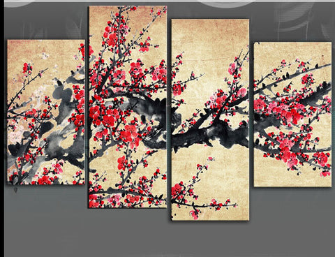 BLOSSOM CHINESE ASIAN FLORAL LARGE SPLIT PANEL 4 PANEL CANVAS WALL ART IMAGE