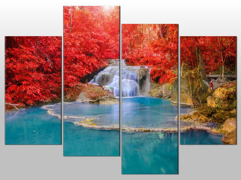 WATERFALL TREES LANDSCAPE SCENIC LARGE SPLIT PANEL 4 PANEL CANVAS WALL ART IMAGE