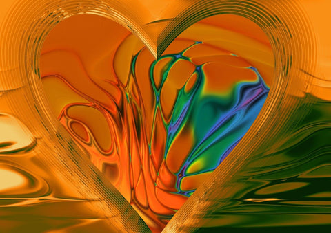 ABSTRACT ART MULTI COLOUR CANVAS WALL HANGING PICTURE IMAGE ORANGE YELLOW GREEN