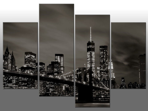 NEW YORK BROOKLYN BRIDGE MANHATTAN LARGE SPLIT PANEL 4 PANEL CANVAS WALL ART