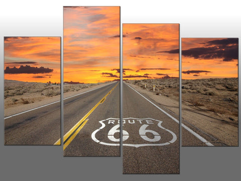 ROUTE 66 ROAD SUNSET AMERICA LARGE SPLIT PANEL 4 PANEL CANVAS WALL ART IMAGE