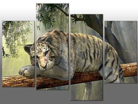 SNOW TIGER WHITE TREE LARGE SPLIT PANEL 4 PANEL CANVAS WALL ART IMAGE TIGER