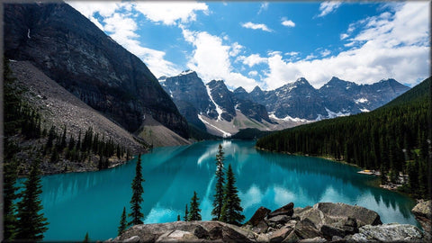 MOUNTAINS LAKE LANDSCAPE CANVAS WALL HANGING PICTURE IMAGE PHOTO BLUE SKY NATURE