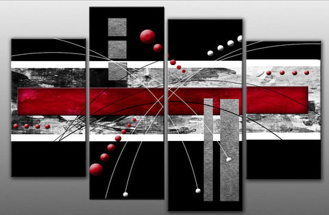 RED GREY BLACK ABSTRACT ART LARGE SPLIT PANEL 4 PANEL CANVAS WALL ART IMAGE