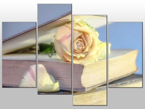 ROSE BOOK PAGES PEACH LOVE LARGE SPLIT PANEL CANVAS WALL ART IMAGE PICTURE