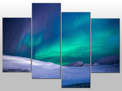 NORTHERN LIGHTS AURORA BOREALIS LARGE SPLIT PANEL 4 PANEL CANVAS WALL ART IMAGE