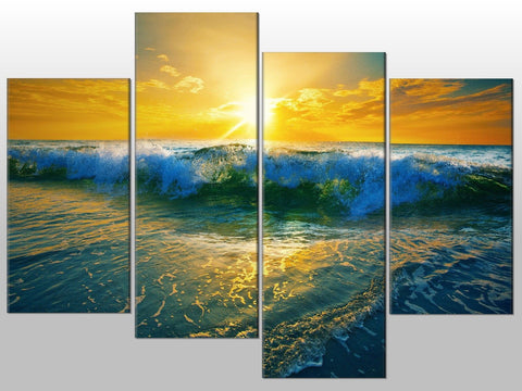 SEA WAVES SKY SUNRISE BLUE YELLOW LARGE SPLIT PANEL 4 PANEL CANVAS WALL ART