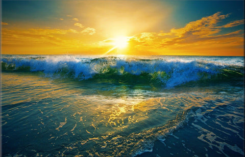 SEA WAVES SUNRISE OCEAN WATER YELLOW BLUE LANDSCAPE CANVAS WALL ART HANGING