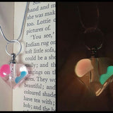 GLOW IN THE DARK HEART NAME ON GRAIN OF RICE PENDANT PERSONALISED GIFT PRESENT