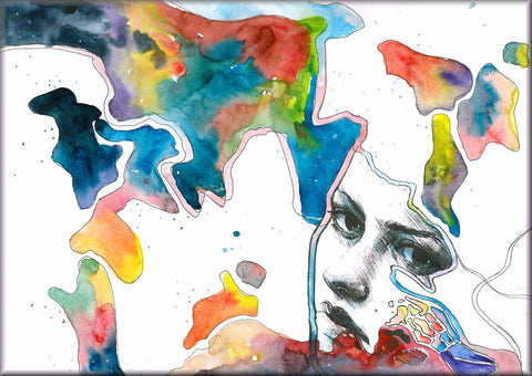 ABSTRACT ART PAINTING FACE CANVAS WALL HANGING IMAGE PHOTO MULTI-COLOURED