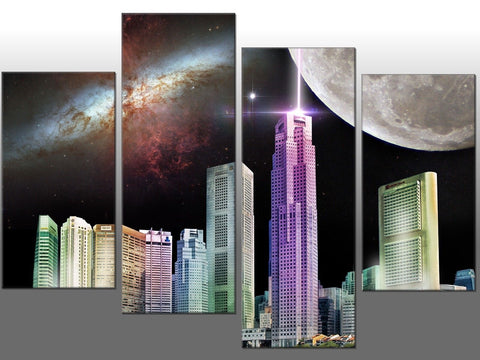 FANTASY CITYSCAPE WORLD COLOURED LARGE SPLIT PANEL 4 PANEL CANVAS WALL ART IMAGE