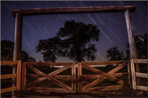 LANDSCAPE STARS FIELD TREES FENCE NIGHTTIME LARGE CANVAS WALL ART IMAGE PICTURE