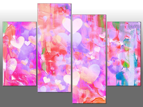 PINK HEARTS LOVE MULTI COLOUR LARGE SPLIT PANEL 4 PANEL CANVAS WALL ART IMAGE