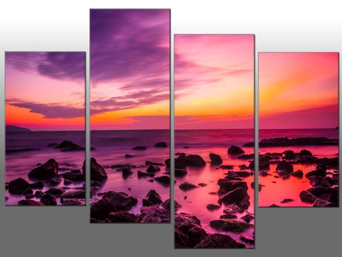 PINK SEA MIST ORANGE SUNRISE LARGE SPLIT PANEL 4 PANEL CANVAS WALL ART IMAGE