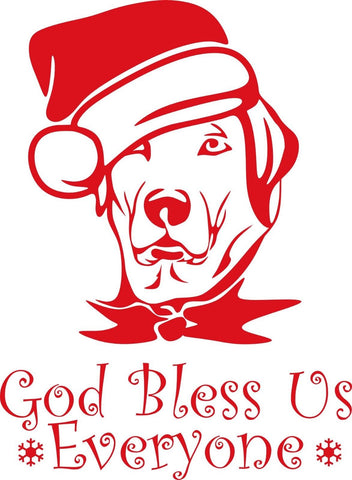 God Bless Us Everyone Dog Santa Hat Window Sticker Christmas Wall Decal Xmas