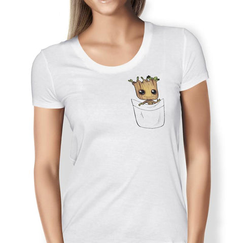 Guardians of the Galaxy - Baby Groot - White Pocket Print T-shirt Ladies