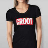 'GROOT' Guardians of the Galaxy - Black T-shirt Ladies