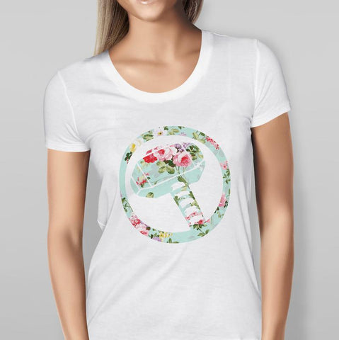 Thor Inspired - Floral Hammer - White T-shirt Ladies
