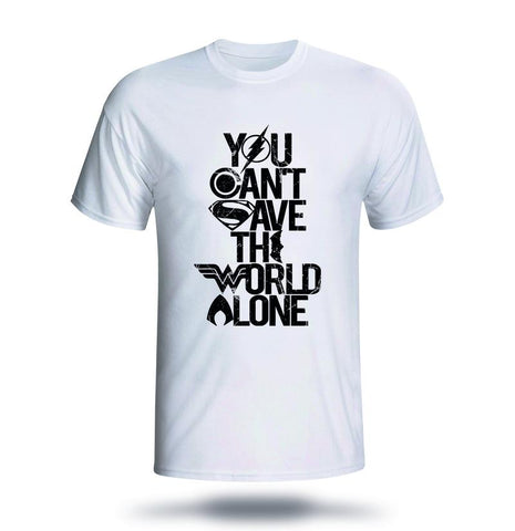 Justice League - You Can't Save The World Alone - All Black - White T-shirt Mens