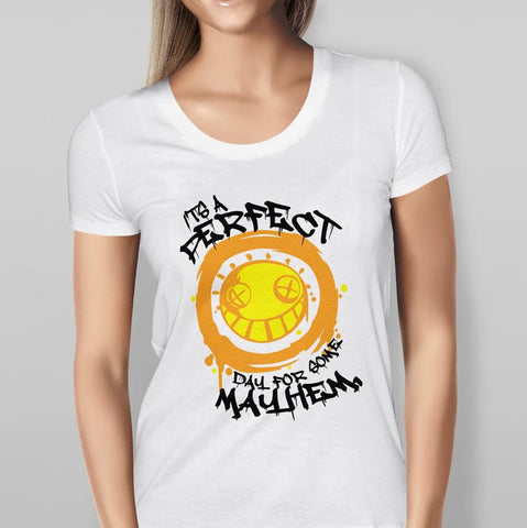 'It's A Perfect Day For Mayhem' Overwatch Junkrat - White T-shirt Ladies
