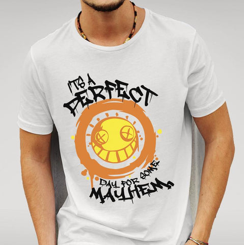 'It's A Perfect Day For Mayhem' Overwatch Junkrat - White T-shirt Mens