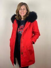 Red Parka with Fox Fur Lining and Raccoon Collar - Black