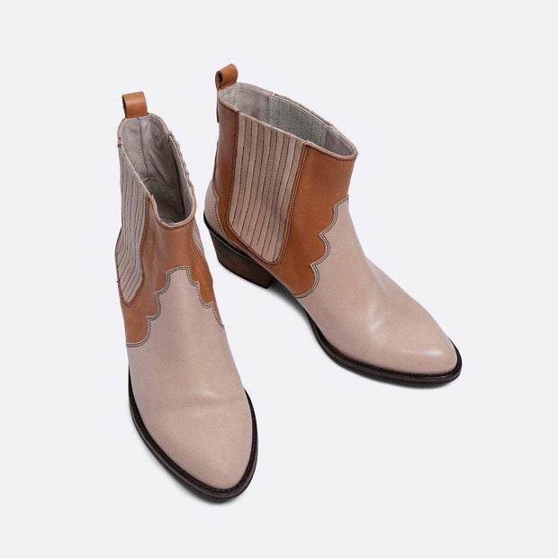 Leather Cowboy Ankle Boots- Beige and Tan