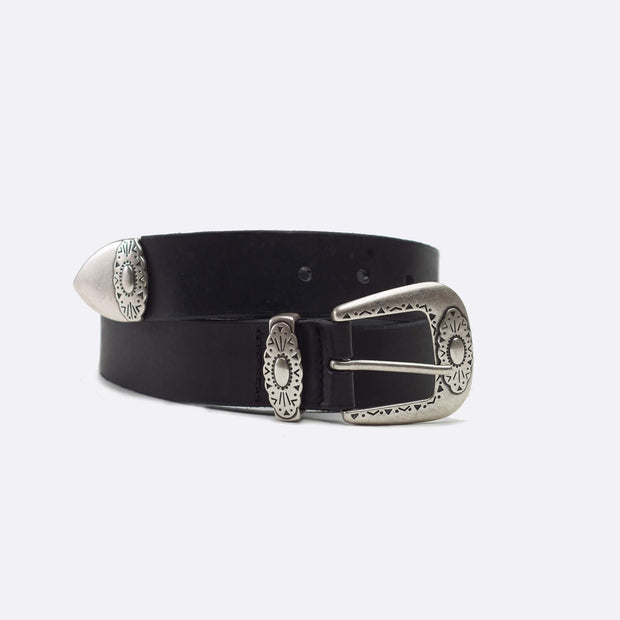 Leather Belt with Silver Buckle- Black - Taylor Bell