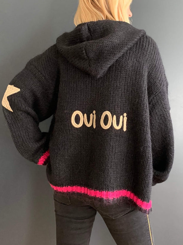 'Oui Oui' Black Oversized Hooded Cardigan