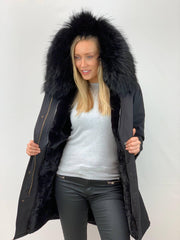 Black Parka with Faux Fur Lining and Faux or Raccoon Collar - Black