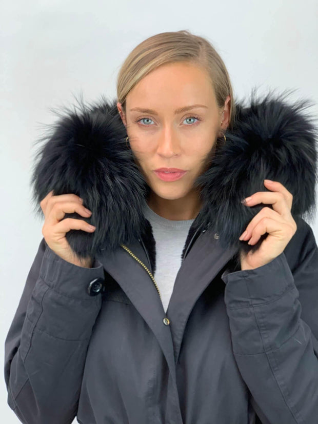 Black Parka with Faux Fur Lining and Raccoon Collar - Black