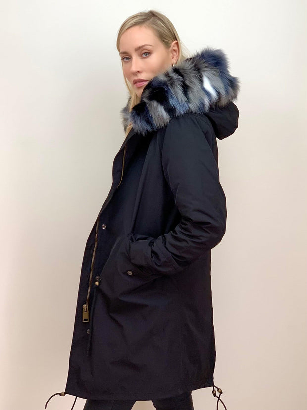 Black Parka with Black Faux Fur Lining and Multi-Coloured Collar