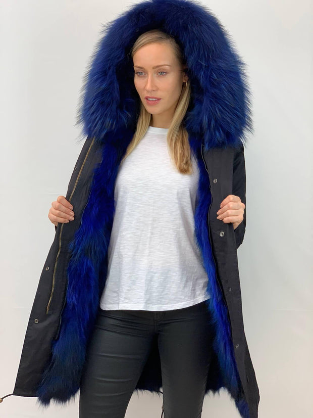 Black Parka with Fox Fur Lining and Raccoon Collar - Bright Blue