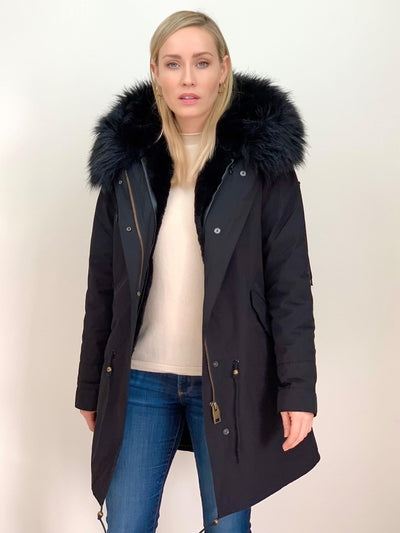 Black Parka with Faux Fur Lining and Collar - Black