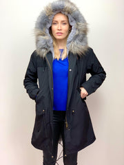 Black Parka with Faux Fur Lining and Collar - Grey