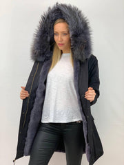 Black Parka with Faux Fur Lining and Faux or Raccoon Collar - Grey