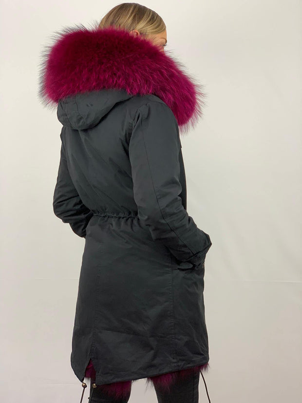 Black Parka with Fox Fur Lining and Raccoon Collar - Magenta